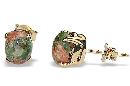 Design 16438: green,orange unakite post earrings
