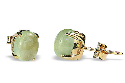 Design 16442: green prehnite post earrings