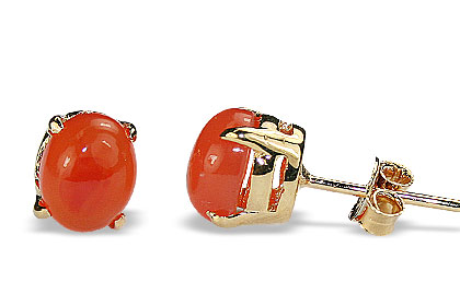 Design 16443: orange carnelian post earrings
