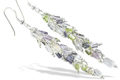 Design 16517: green,purple,white aquamarine earrings
