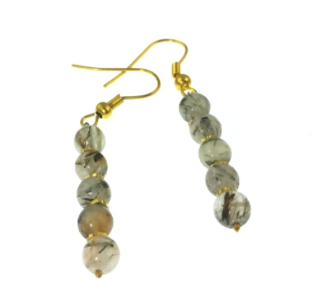 Design 20475: white rutilated quartz earrings