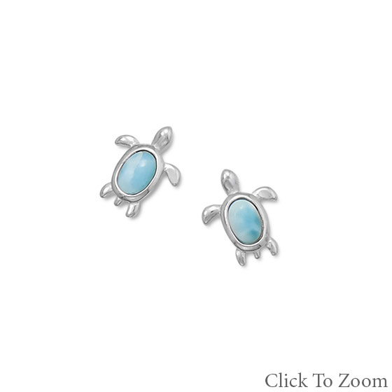 Design 21727: blue larimar post earrings