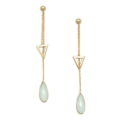 Design 21729: green chalcedony drop earrings