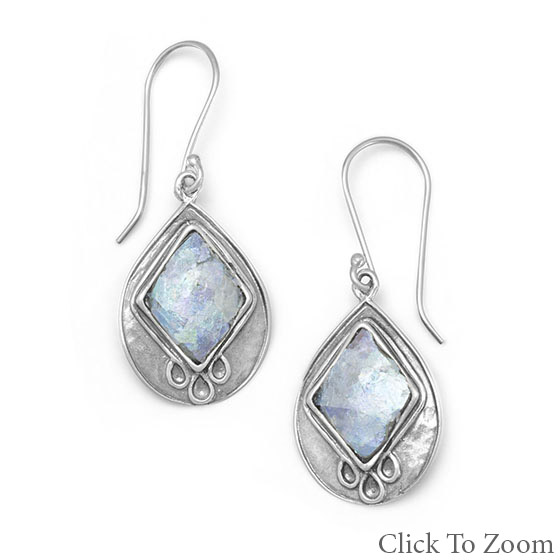 Design 21743: blue crystal art-deco earrings