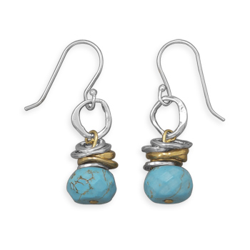 Design 21745: blue turquoise drop earrings