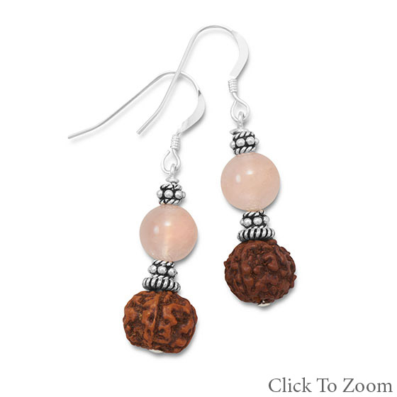 Design 21746: pink rose quartz drop earrings