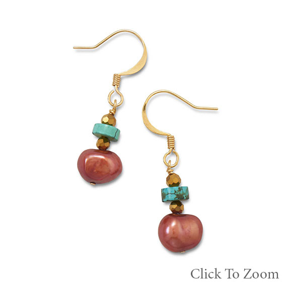 Design 21747: multi-color multi-stone drop earrings