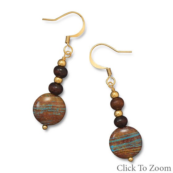 Design 21748: brown multi-stone drop earrings