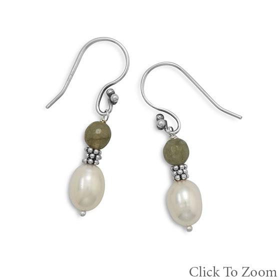 Design 21749: multi-color multi-stone drop earrings