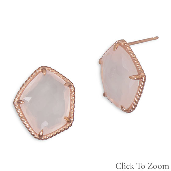 Design 21754: pink rose quartz post earrings