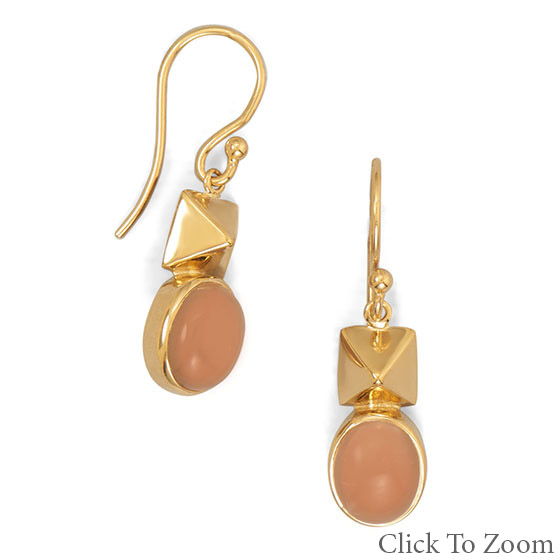 Design 21757: pink moonstone classic earrings