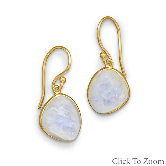 Design 21762: white moonstone drop earrings