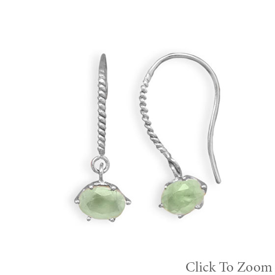 Design 21763: green prehnite drop earrings