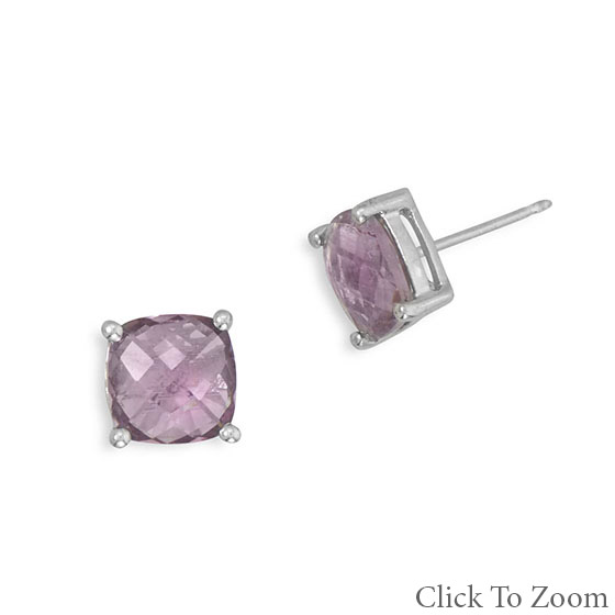 Design 21764: purple amethyst post earrings