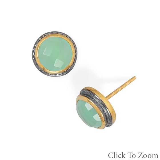 Design 21768: green chalcedony post earrings