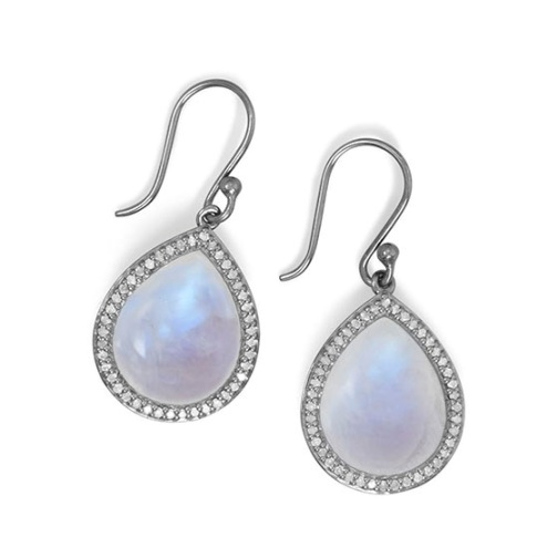 Design 21770: white moonstone drop earrings