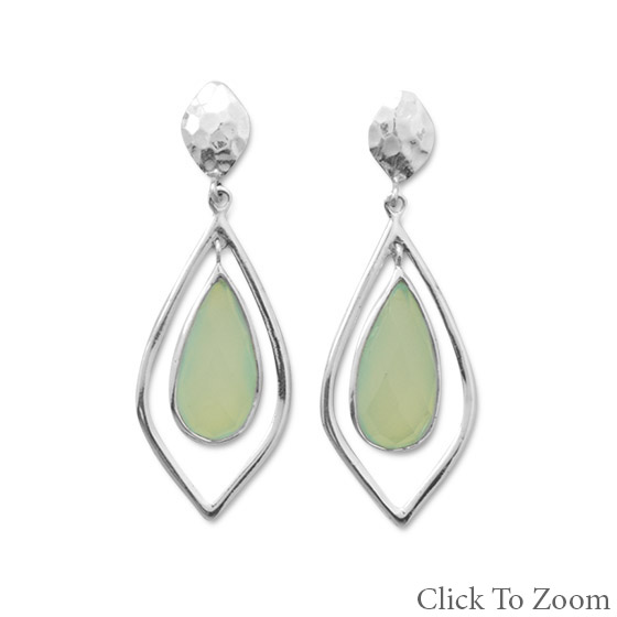 Design 21776: green chalcedony drop earrings