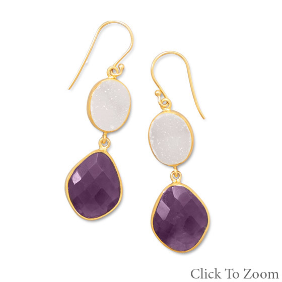 Design 21778: multi-color multi-stone drop earrings