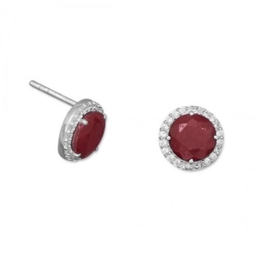 Design 21779: red ruby post earrings