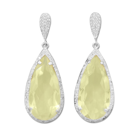 Design 21780: yellow lemon quartz post earrings