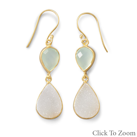 Design 21782: multi-color chalcedony drop earrings