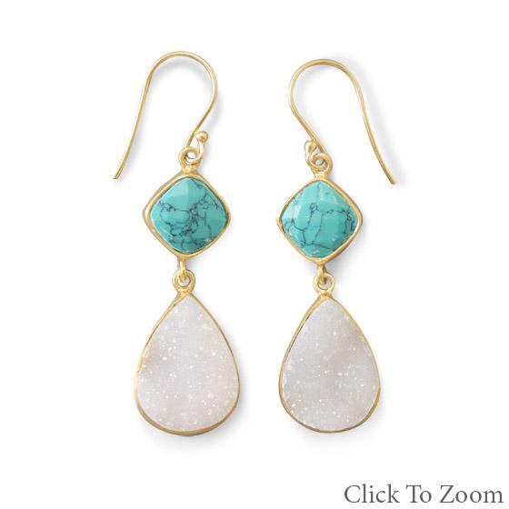 Design 21783: multi-color multi-stone drop earrings