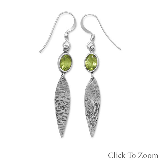 Design 21786: green peridot drop earrings