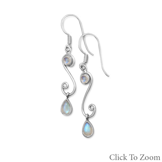Design 21789: white moonstone brides-maids earrings