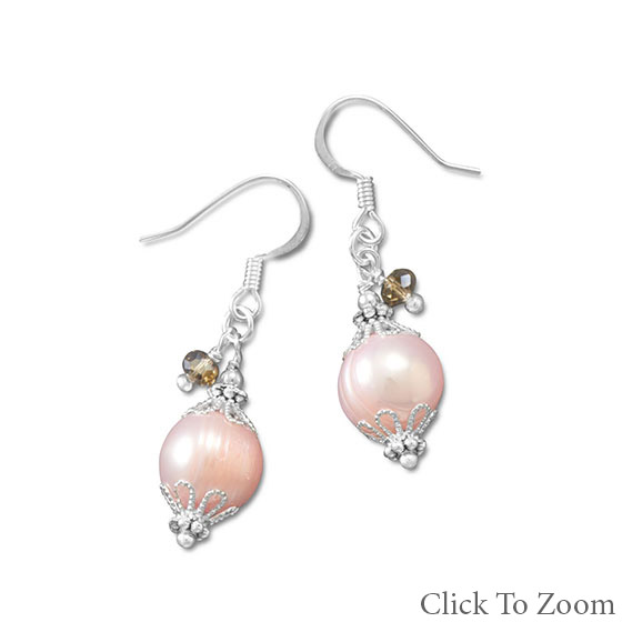 Design 21794: pink crystal classic earrings