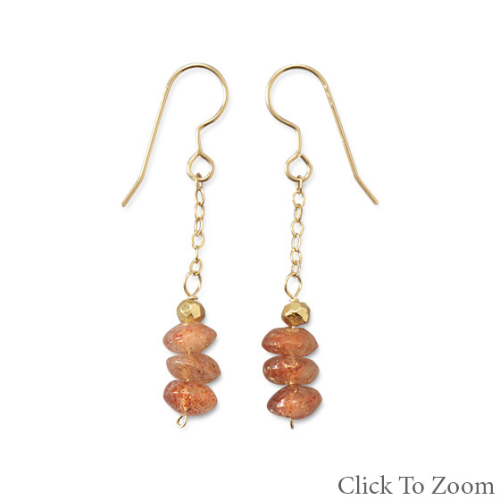 Design 21799: orange pyrite drop earrings