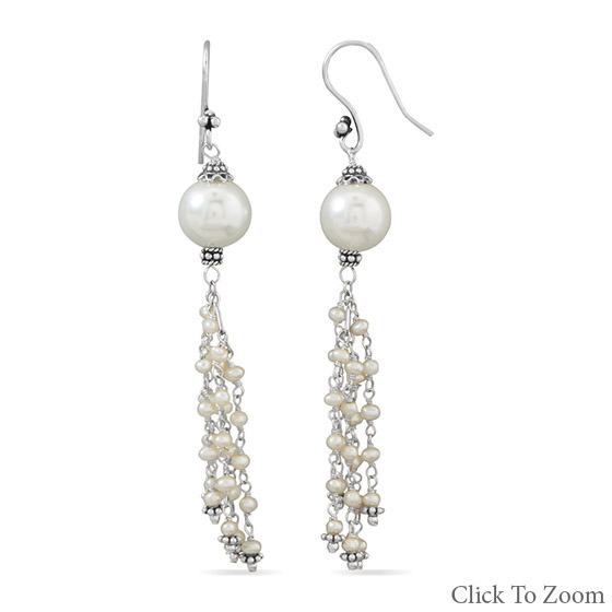 Design 21805: white pearl brides-maids earrings