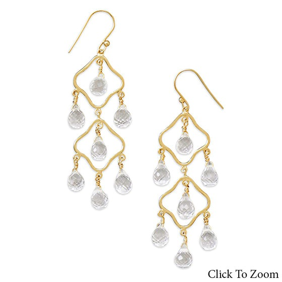 Design 21806: white quartz chandelier earrings