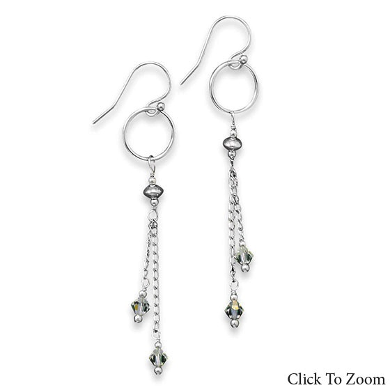 Design 21807: white crystal classic earrings