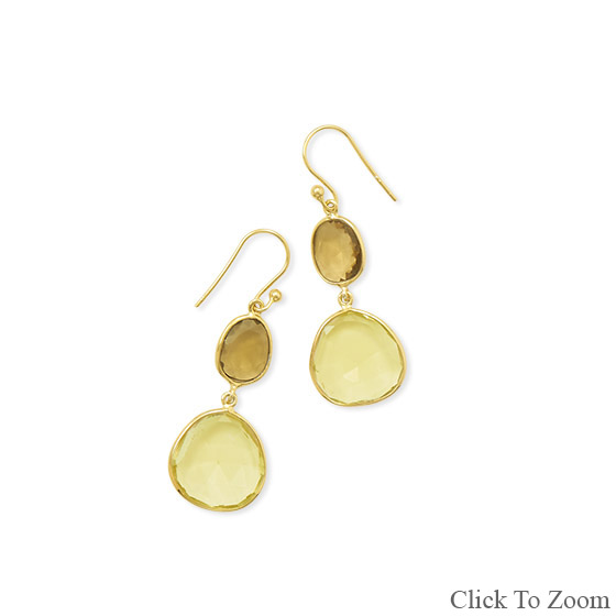 Design 21809: yellow lemon quartz drop earrings