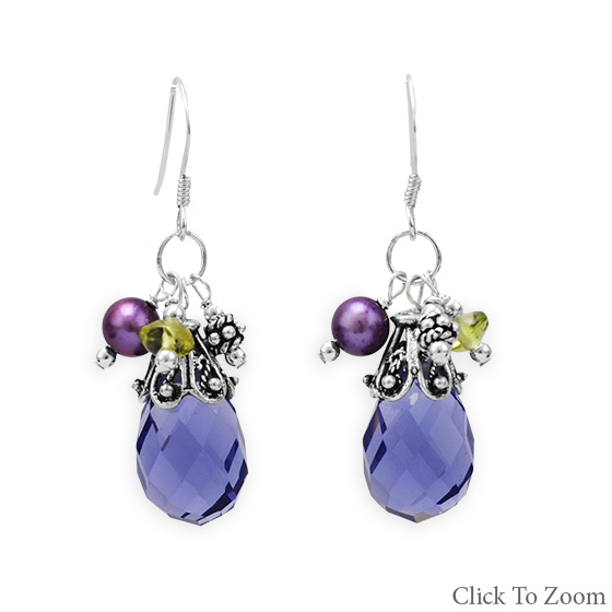 Design 21810: multi-color multi-stone multistone earrings
