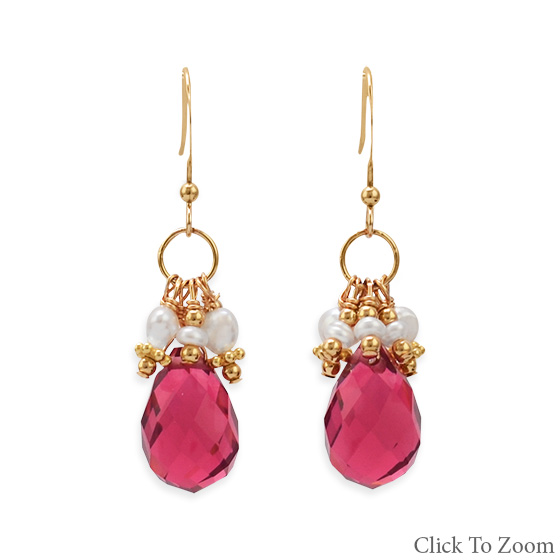Design 21811: red multi-stone drop earrings