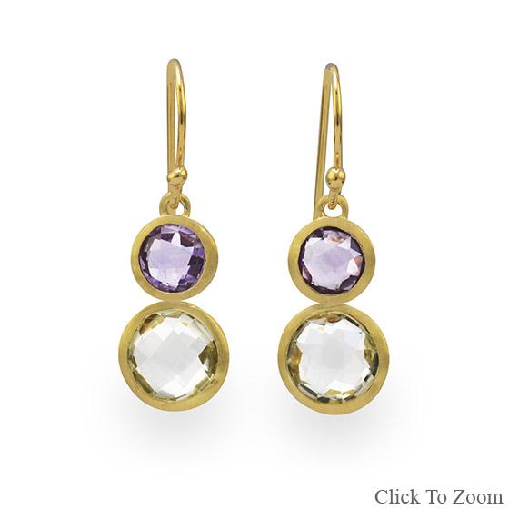 Design 21812: multi-color multi-stone drop earrings