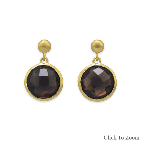 Design 21814: brown smoky quartz post earrings
