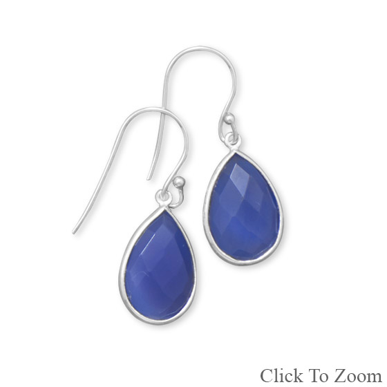 Design 21818: blue chalcedony drop earrings