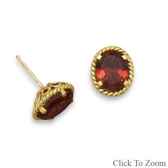 Design 21821: red garnet studs earrings