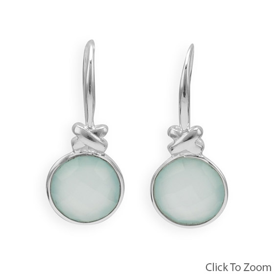 Design 21822: green chalcedony drop earrings