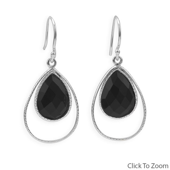Design 21823: black onyx drop earrings