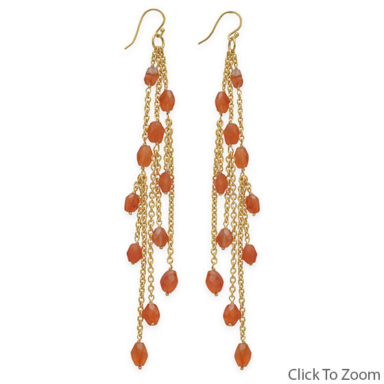 Design 21825: orange carnelian cha-cha earrings