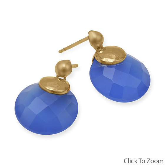 Design 21826: blue chalcedony post earrings