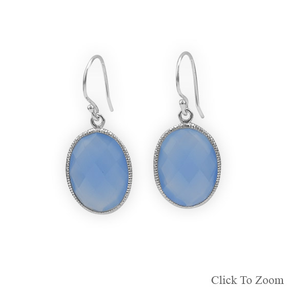 Design 21827: blue chalcedony drop earrings