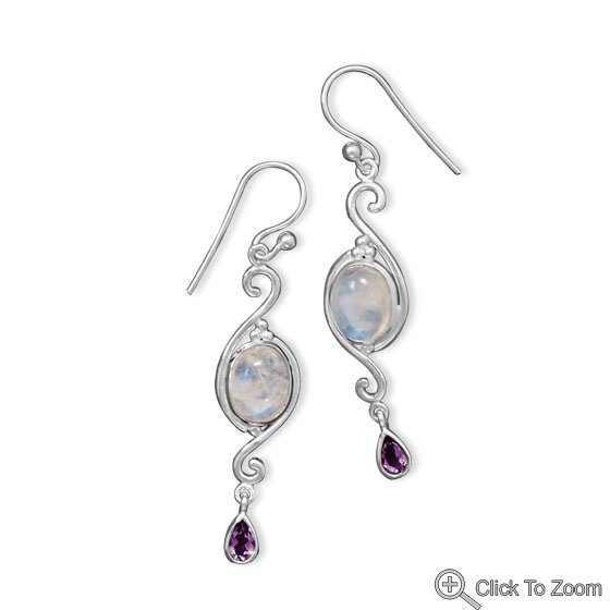 Design 21834: multi-color moonstone drop earrings