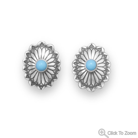 Design 21835: blue turquoise post earrings