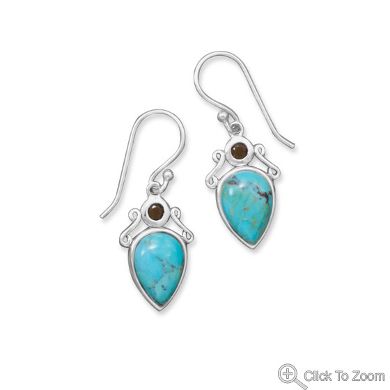 Design 21837: blue turquoise drop earrings