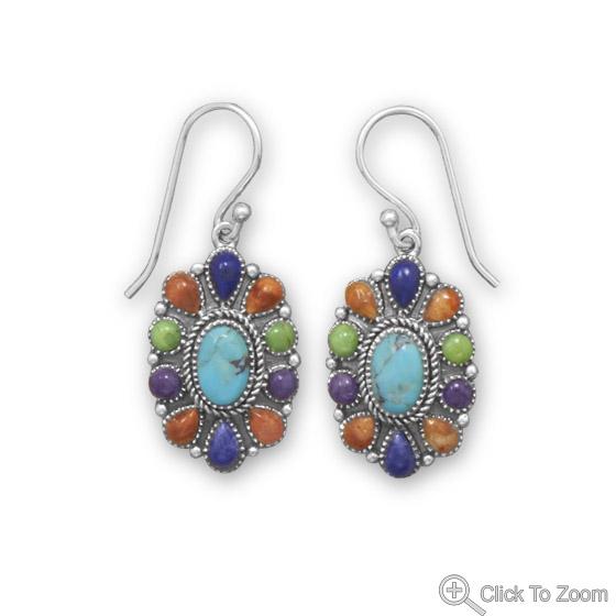 Design 21838: multi-color multi-stone earrings