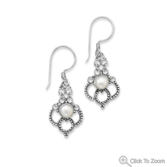 Design 21846: white pearl drop earrings